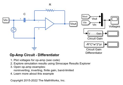 Op-Amp Circuit - Differentiator - MATLAB & Simulink