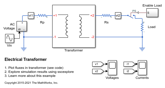 Electrical Transformer - MATLAB & Simulink