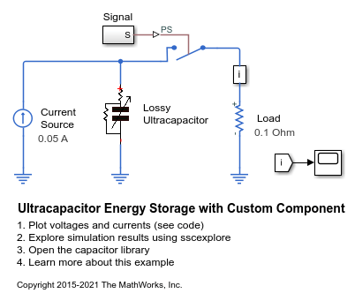 Ultracapacitor Energy Storage with Custom Component - MATLAB & Simulink