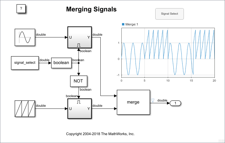 Control Merging Signals with the Push Button Block - MATLAB