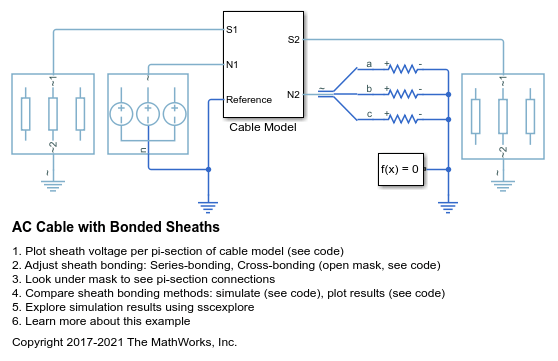 AC Cable with Bonded Sheaths - MATLAB & Simulink