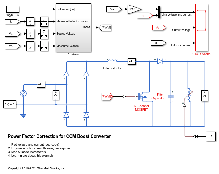 Power Factor Correction for CCM Boost Converter - MATLAB & Simulink