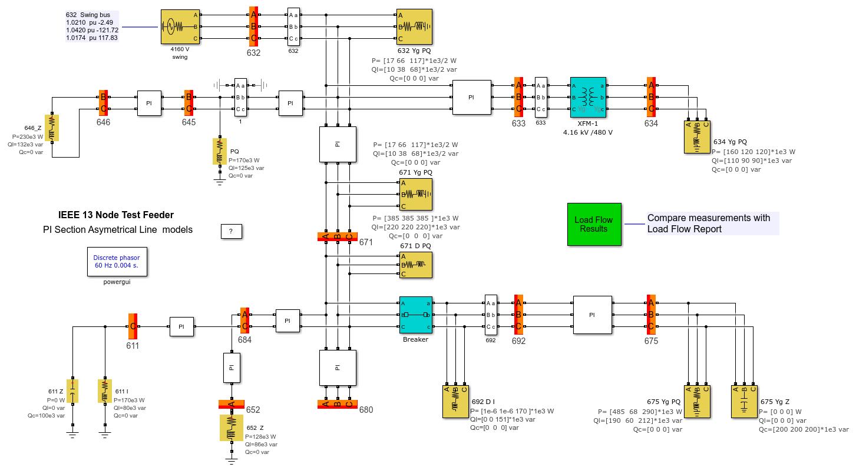 IEEE 13 Node Test Feeder - MATLAB & Simulink