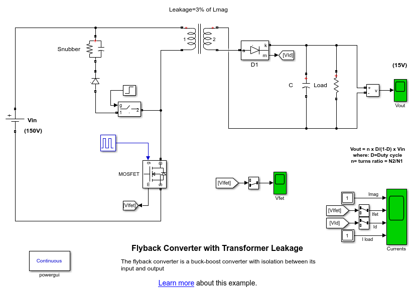 Flyback Converter with Transformer Leakage - MATLAB & Simulink Example