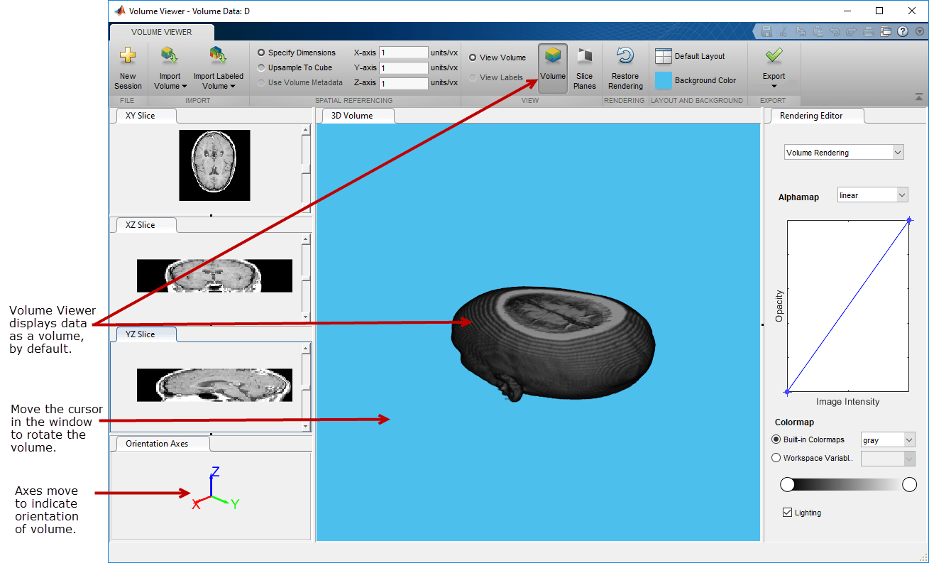 Explore 3-D Volumetric Data with Volume Viewer App - MATLAB & Simulink