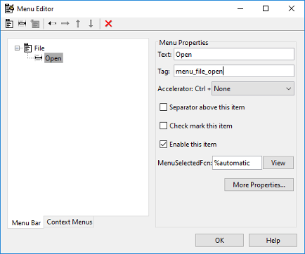 Create Menus for GUIDE Apps - MATLAB & Simulink