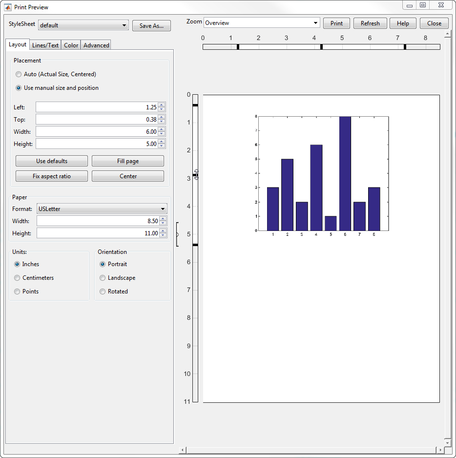MATLAB Changes The Figure Size In Print Preview But Does Not Change Of Actual
