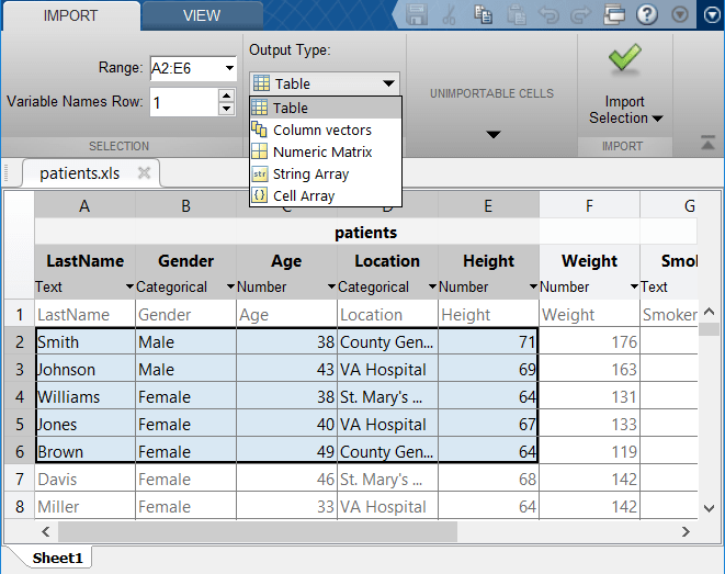 Import Spreadsheets - MATLAB & Simulink