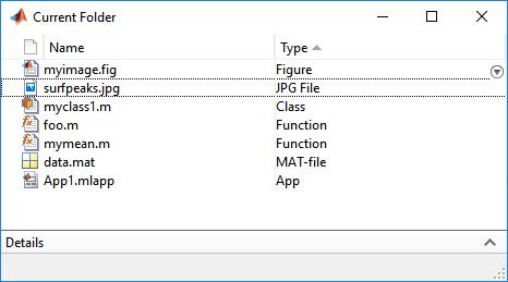 Open Current Folder browser - MATLAB