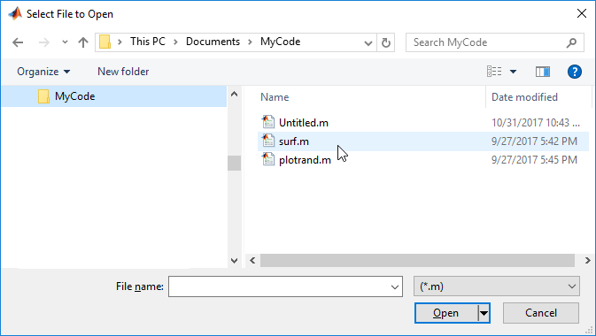 Open file selection dialog box - MATLAB uigetfile