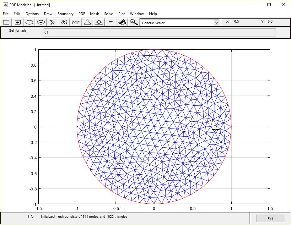 Poisson's Equation on Unit Disk: PDE Modeler App - MATLAB