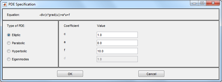 Coefficients for Scalar PDEs in PDE Modeler App - MATLAB & Simulink