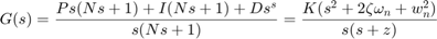 $$G(s) = {Ps(Ns+1) + I(Ns+1) + D s^s \over s(Ns+1)} = {K(s^2+2 \zeta \omega_n+w_n^2) \over s(s + z)}$$