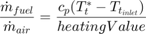 $$\frac{\dot m_{fuel}}{\dot m_{air}} = \frac{c_p(T^*_t - T_{t_{inlet}})}{heatingValue}$$