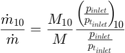 $$ \frac{\dot m_{10}}{\dot m} = \frac{M_{10}}{M} \frac {\left(\! \frac {p_{inlet}}{p_{t_{inlet}}} \!\right)_{\!\!{10}}}{\frac{p_{inlet}}{p_{t_{inlet}}}}$$