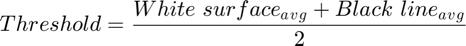 $$Threshold = \frac{White\ surface{_a}{_v}{_g} + Black\ line{_a}{_v}{_g}}{2}$$