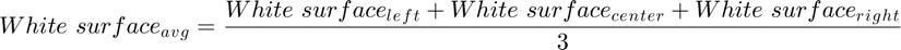 $$White\ surface{_a}{_v}{_g} = \frac{White\ surface{_l}{_e}{_f}{_t} + White\ surface{_c}{_e}{_n}{_t}{_e}{_r} + White\ surface{_r}{_i}{_g}{_h}{_t}}{3}$$