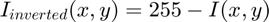 $I_{inverted}(x,y) = 255-I(x,y)$