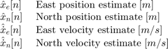 $$ \begin{array} {ll} \hat{x}_e[n] \; & \textnormal{East position estimate} \; [m] \\ \hat{x}_n[n] \; & \textnormal{North position estimate} \; [m] \\ \hat{\dot{x}}_e[n] \; & \textnormal{East velocity estimate} \; [m/s] \\ \hat{\dot{x}}_n[n] \; & \textnormal{North velocity estimate} \; [m/s] \\ \end{array} $$