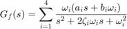 $$ G_f(s) = \sum_{i=1}^{4} \frac{\omega_i(a_is+b_i\omega_i)}{s^2+2\zeta_i\omega_is+\omega_i^2} $$