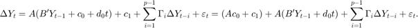$$ \Delta{Y}_t = A (B' Y_{t - 1} + c_0 + d_0t) + c_1 + \sum_{i = 1}^{p-1} \Gamma_i \Delta{Y}_{t - i} + \varepsilon_t = (A c_0 + c_1) + A (B' Y_{t - 1} + d_0t) + \sum_{i = 1}^{p-1} \Gamma_i \Delta{Y}_{t - i} + \varepsilon_t. $$
