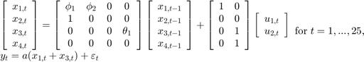 $$\begin{array}{l} \left[ {\begin{array}{*{20}{c}} {{x_{1,t}}}\\ {{x_{2,t}}}\\ {{x_{3,t}}}\\ {{x_{4,t}}} \end{array}} \right] = \left[ {\begin{array}{*{20}{c}} {{\phi _1}}&{{\phi _2}}&0&0\\ 1&0&0&0\\ 0&0&0&{{\theta _1}}\\ 0&0&0&0 \end{array}} \right]\left[ {\begin{array}{*{20}{c}} {{x_{1,t - 1}}}\\ {{x_{2,t - 1}}}\\ {{x_{3,t - 1}}}\\ {{x_{4,t - 1}}} \end{array}} \right] + \left[ {\begin{array}{*{20}{c}} 1&0\\ 0&0\\ 0&1\\ 0&1 \end{array}} \right]\left[ {\begin{array}{*{20}{c}} {{u_{1,t}}}\\ {{u_{2,t}}} \end{array}} \right]\\ {y_t} = a({x_{1,t}} + {x_{3,t}}) + {\varepsilon _t} \end{array}{\rm for\;}t = 1,...,25,$$