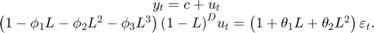 $$\begin{array}{c} {y_t} = c + {u_t}\\ \left( {1 - {\phi _1}L - {\phi _2}{L^2} - {\phi _3}{L^3}} \right){\left( {1 - L} \right)^D}{u_t} = \left( {1 + {\theta _1}L + {\theta _2}{L^2}} \right){\varepsilon _t}.\end{array}$$