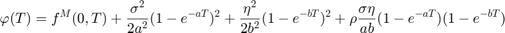 $$ \varphi (T)  = f^M(0,T) + \frac{\sigma^2}{2a^2}(1 - e^{-aT})^2 + \frac{\eta^2}{2b^2}(1 - e^{-bT})^2 + \rho \frac{\sigma \eta}{ab} (1 - e^{-aT}) (1 - e^{-bT}) $$