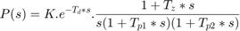 $$P(s) = K.e^{-T_d*s}.\frac{1 + T_z*s}{s(1 +  T_{p1}*s)(1 + T_{p2}*s)} $$