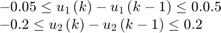 $$\begin{array}{l} - 0.05 \le {u_1}\left( k \right) - {u_1}\left( {k - 1} \right) \le 0.0.5\\ - 0.2 \le {u_2}\left( k \right) - {u_2}\left( {k - 1} \right) \le 0.2 \end{array}$$