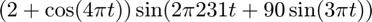 $(2+\cos(4\pi t))\sin(2\pi 231t+90\sin(3\pi t))$