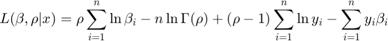 $$L(\beta,\rho|x) = \rho\sum_{i=1}^n \ln\beta_i - n\ln\Gamma(\rho) + (\rho-1)\sum_{i=1}^n \ln y_i - \sum_{i=1}^n y_i\beta_i$$