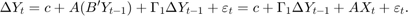 $$ \Delta{Y}_t = c + A(B' Y_{t - 1}) + \Gamma_1 \Delta{Y}_{t - 1} + \varepsilon_t = c + \Gamma_1 \Delta{Y}_{t - 1} + AX_t + \varepsilon_t. $$