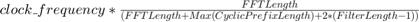 $clock\_frequency * \frac{FFTLength}{(FFTLength + Max(CyclicPrefixLength) + 2*(FilterLength -1))}$