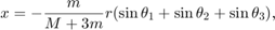 $$ x =  - \frac{m}{{M + 3m}}r(\sin \theta _1  + \sin \theta _2  + \sin \theta _3 ), $$