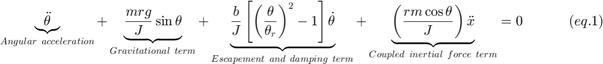 $$ \underbrace {\ddot \theta }_{Angular~acceleration} + \underbrace {\frac{{mrg}}{J}\sin \theta }_{Gravitational~term} + \underbrace {\frac{b}{J}\left[ {\left( {\frac{\theta }{{\theta _r }}} \right)^2  - 1} \right]\dot \theta }_{Escapement~and~damping~term} + \underbrace {\left( {\frac{{rm\cos \theta }}{J}} \right)\ddot x}_{Coupled~inertial~force~term} = 0~~~~~~~~~~(eq.1) $$