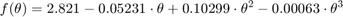 $$f(\theta) = 2.821 - 0.05231\cdot\theta + 0.10299\cdot\theta^2 - 0.00063\cdot\theta^3$$