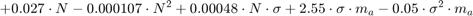 $$ + 0.027 \cdot N - 0.000107 \cdot N^2 + 0.00048 \cdot N \cdot \sigma + 2.55 \cdot \sigma \cdot m_a - 0.05 \cdot \sigma ^2 \cdot m_a $$