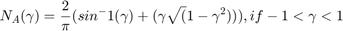 $$ N_A(\gamma) = \frac{2}{\pi}(sin^-1(\gamma)+(\gamma\sqrt(1-\gamma^2))) ,   if -1<\gamma<1 $$
