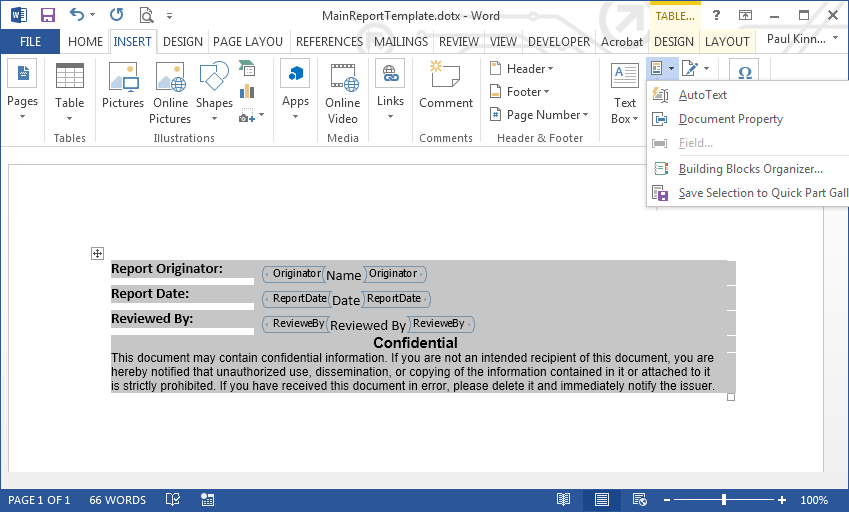 Create a Microsoft Word Document Part Template Library