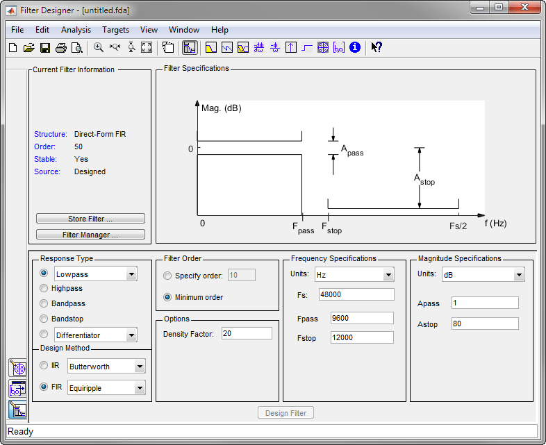 Getting Started With Filter Designer Matlab Simulink