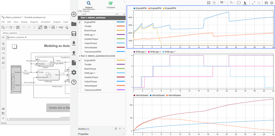 Inspect and compare data and simulation results to validate and