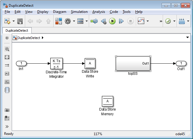 Data store basics matlab simulink by default the value of the diagnostic is none suppressing duplicate name detection the next figure shows a problem detected by setting duplicate data fandeluxe Images