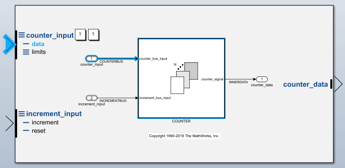 2 Input Counter : Trace connections using interface display matlab simulink
