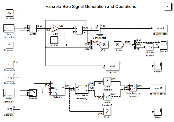 Simulink Models Using Variable Size Signals Matlab
