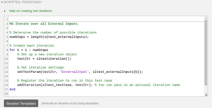 Create or modify test iteration - MATLAB