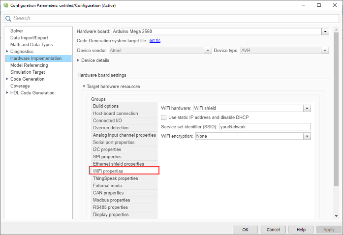 Configure Network Settings for WiFi - MATLAB & Simulink