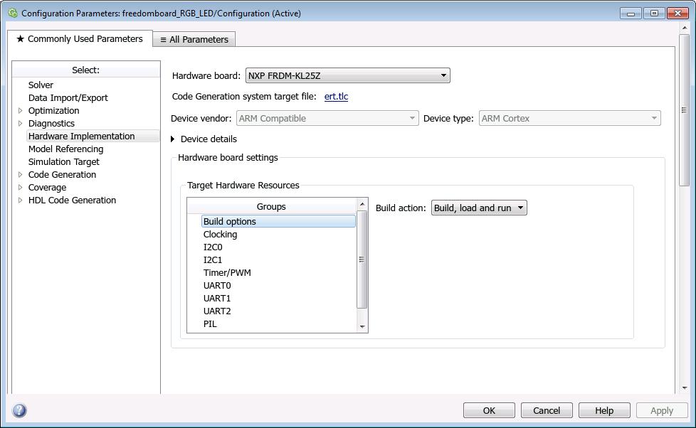Hardware Implementation Pane - MATLAB & Simulink