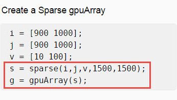 GPU Support for Sparse Matrices