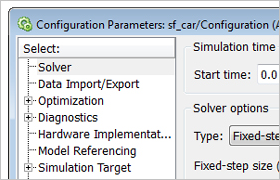 Configuration Parameters dialog box showing the Solver pane.